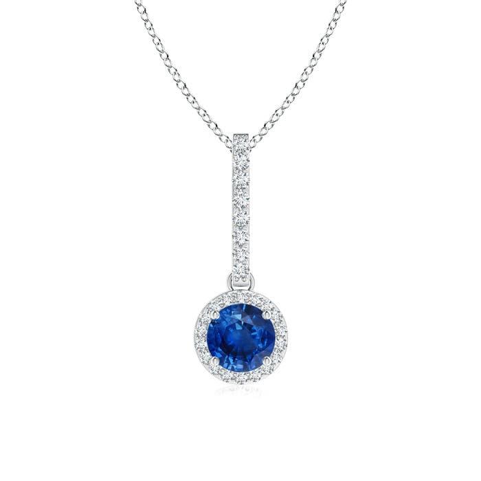 Dangling Round Sapphire and Diamond Halo Pendant - Angara.com