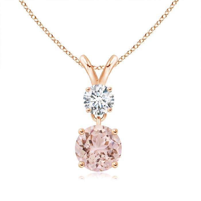 Angara Round Morganite and Diamond Two Stone Pendant zmNrIbXu