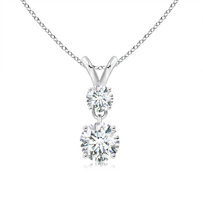 Angara Round Moissanite Necklace in Platinum JnQjIu9