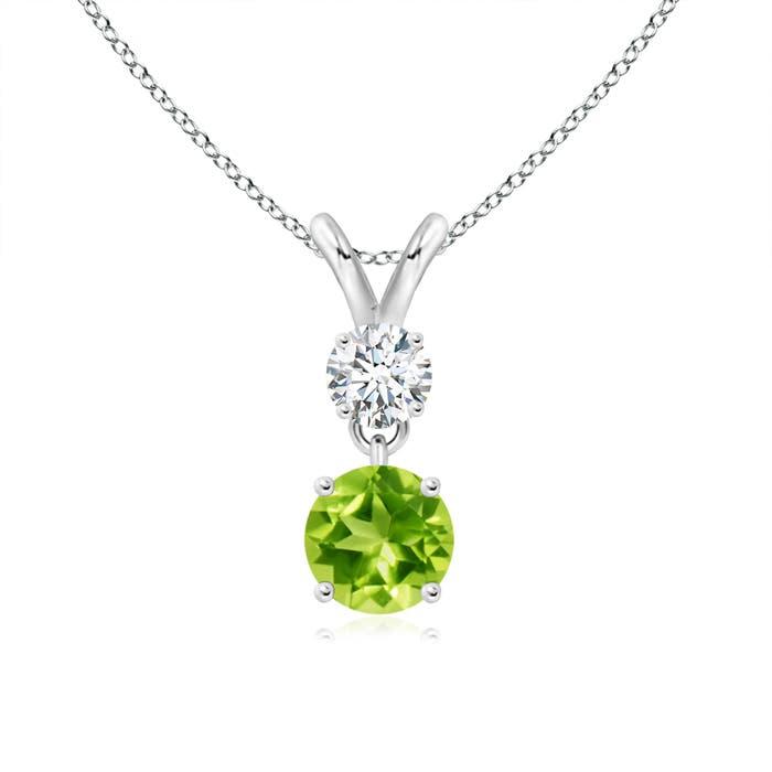 Two Stone Round Diamond and Peridot Pendant Necklace - Angara.com