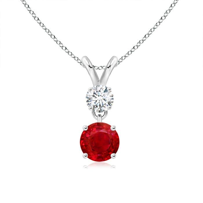 Round Ruby and Diamond Two Stone Pendant - Angara.com