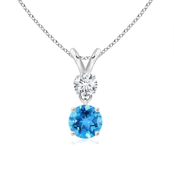 Swiss Blue Topaz and Diamond Two Stone Pendant with Diamond - Angara.com