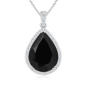 30.20 Carat Vintage Style Black Onyx Teardrop Necklace - Angara.com