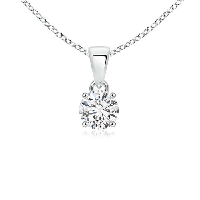 Classic Round Diamond Solitaire Pendant Necklace - Angara.com