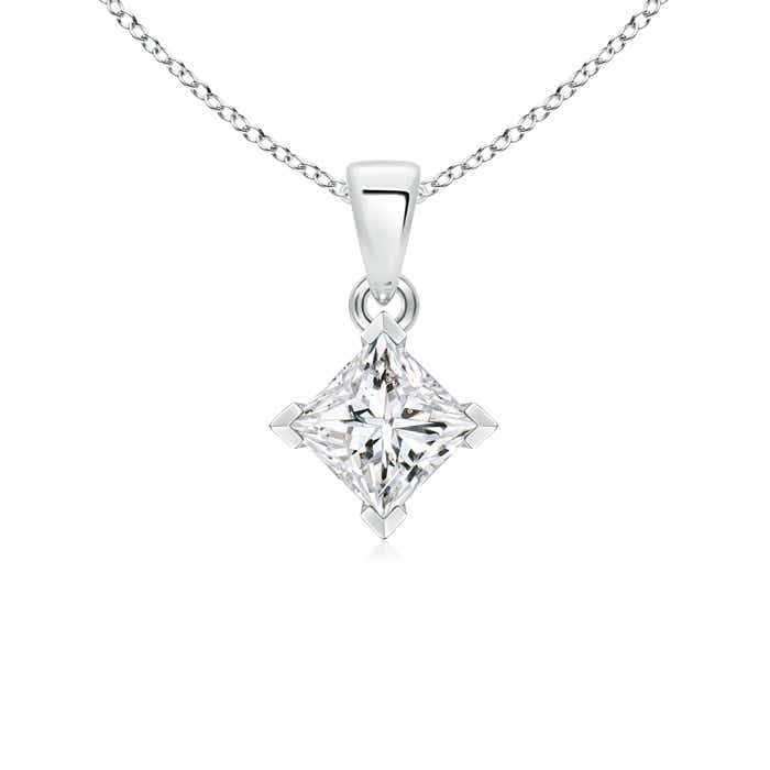 Princess-Cut Diamond Solitaire Pendant Necklace - Angara.com