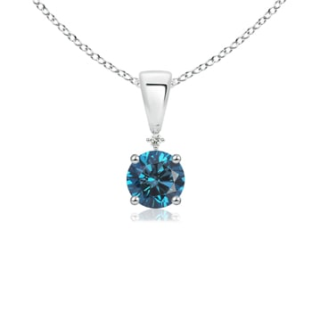 Solitaire Enhanced Blue Diamond and White Diamond Dangling Pendant - Angara.com