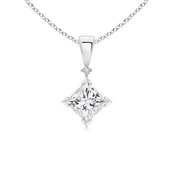 Angara Princess-Cut Diamond Pendant 451Ui