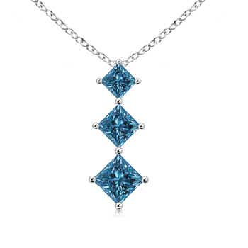 Graduated Princess Cut Enhanced Blue Diamond 3 Stone Pendant - Angara.com
