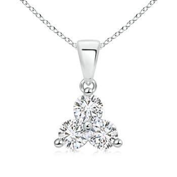 3 Stone Round Diamond Triangle Pendant Necklace - Angara.com