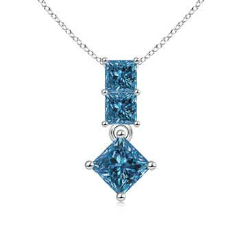 Princess Cut 3 Stone Drop Enhanced Blue Diamond Pendant Necklace - Angara.com