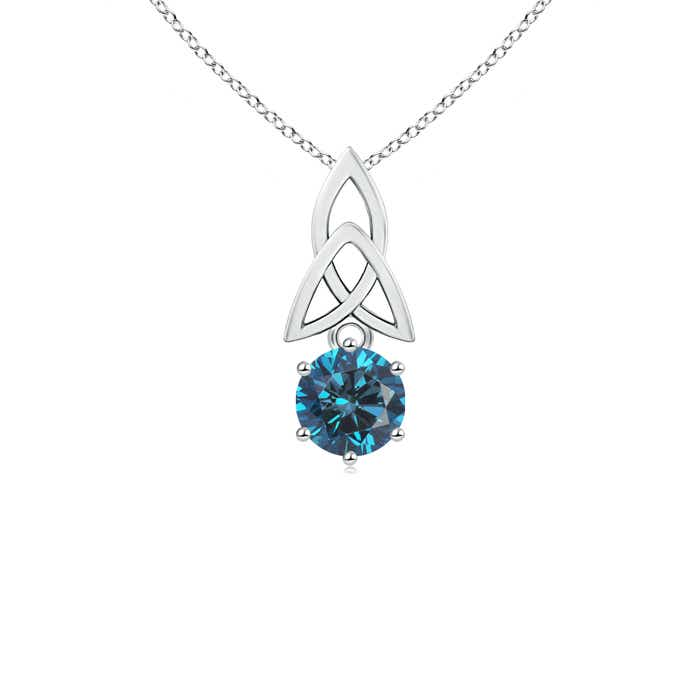 Solitaire Round Enhanced Blue Diamond Celtic Knot Pendant - Angara.com