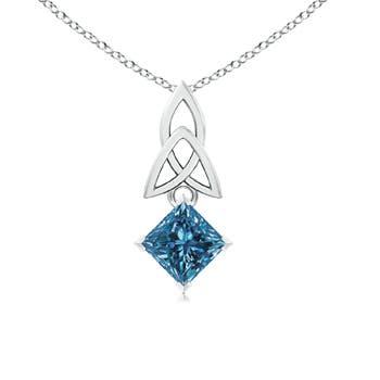 Solitaire Princess Cut Enhanced Blue Diamond Celtic Knot Pendant - Angara.com