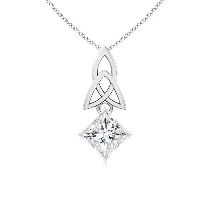 Solitaire Princess Cut Diamond Celtic Knot Pendant - Angara.com
