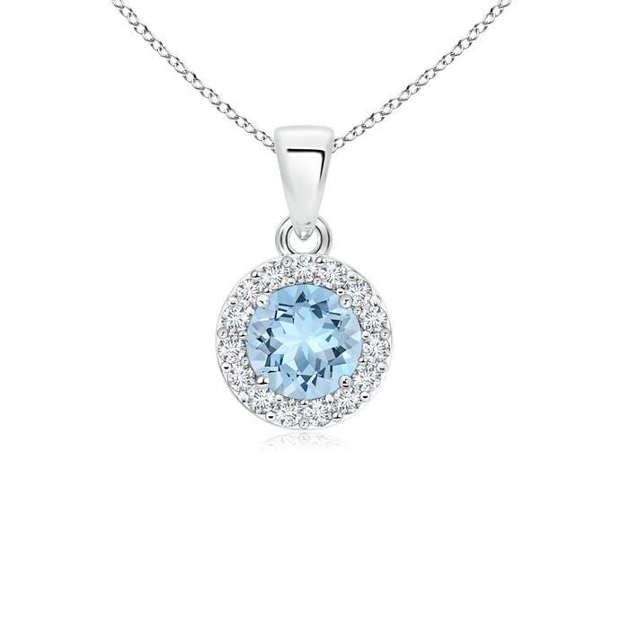 Prong Set Round Diamond and Aquamarine Halo Pendant - Angara.com