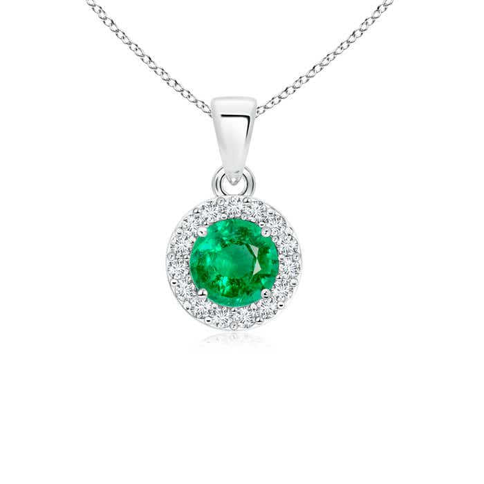 Prong Set Round Diamond and Emerald Halo Pendant - Angara.com