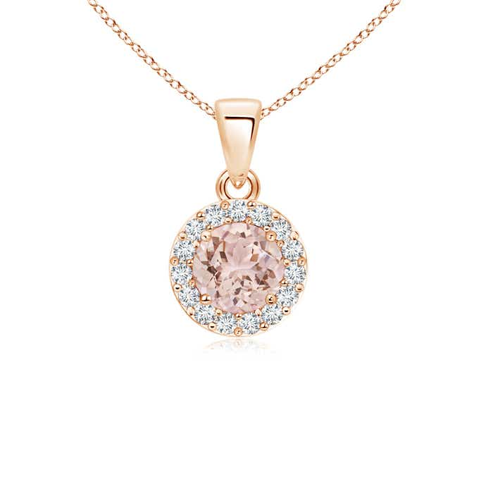 Prong Set Round Diamond and Morganite Halo Pendant - Angara.com