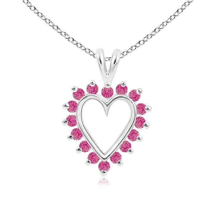 V-Bail Prong Set Open Heart Pink Sapphire Pendant Necklace - Angara.com