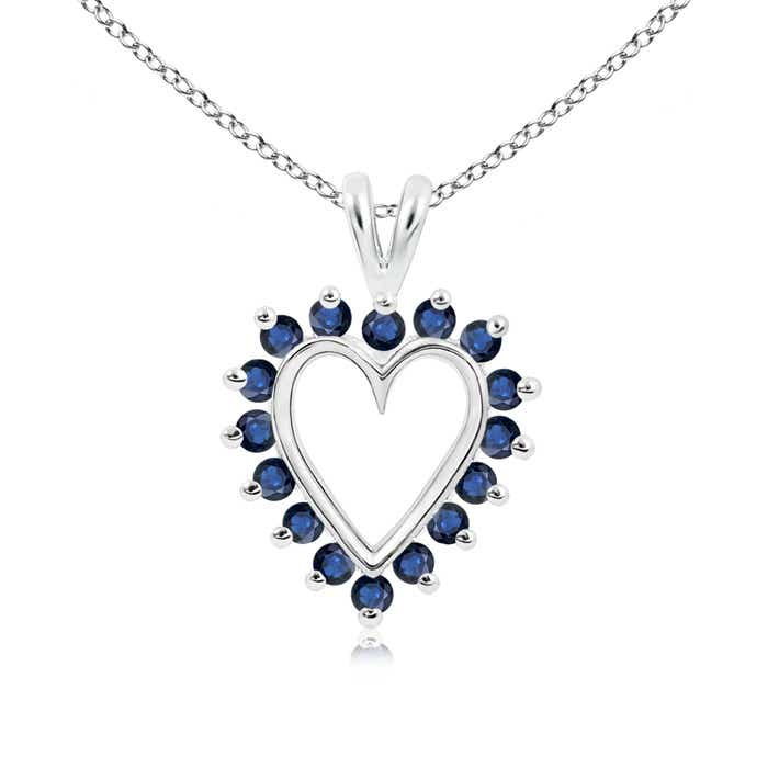 V-Bail Prong Set Open Heart Sapphire Pendant Necklace - Angara.com