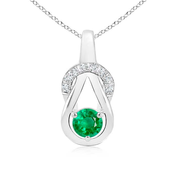 Solitaire Round Emerald Infinity Knot Pendant with Diamond - Angara.com