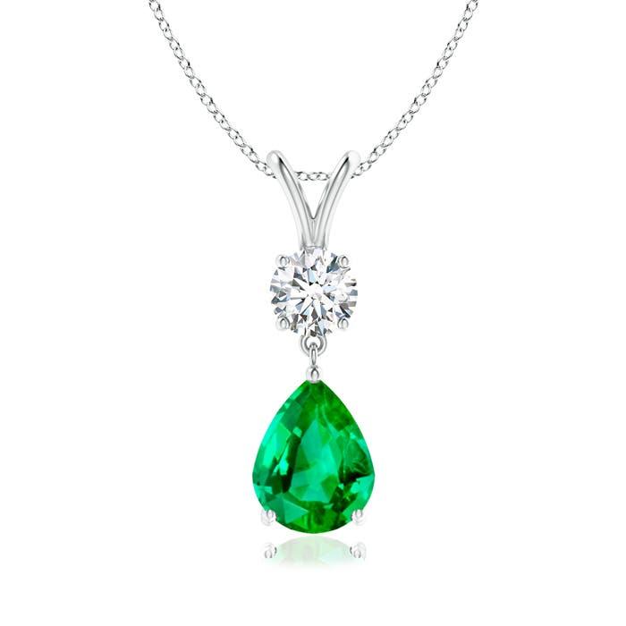 Prong Set V Bale Diamond and Emerald Drop Pendant - Angara.com
