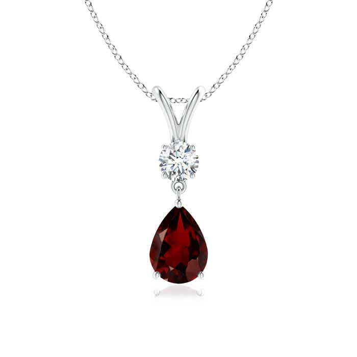 Prong Set V Bale Diamond and Garnet Drop Pendant - Angara.com