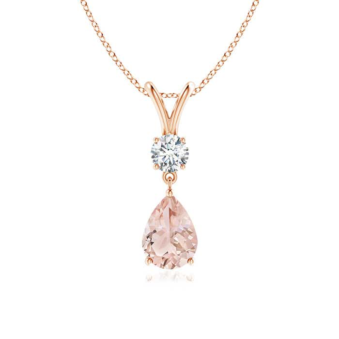 Angara Pear Shaped Morganite Drop Necklace in Yellow Gold