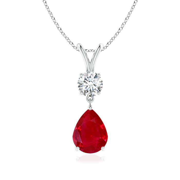 Angara Pear-Shaped Ruby V-Bale Pendant OdswrhvH