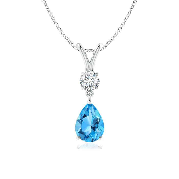 Prong Set V Bale Diamond and Swiss Blue Topaz Drop Pendant - Angara.com