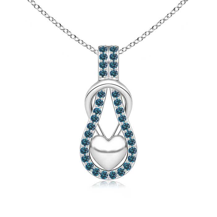 Enhanced Blue Diamond Studded Infinity Knot Pendant with Puffed Heart - Angara.com