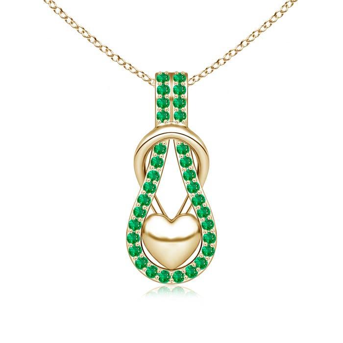 Emerald Studded Infinity Knot Pendant with Puffed Heart - Angara.com