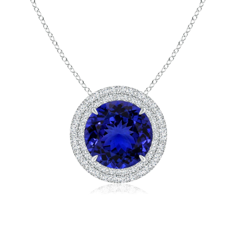 Tanzanite Double Halo Necklace (GIA Certified Tanzanite) - Angara.com