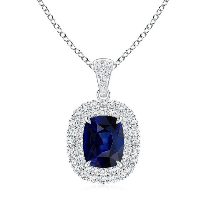 Double Halo Cushion Cut Blue Sapphire and Diamond Pendant - Angara.com
