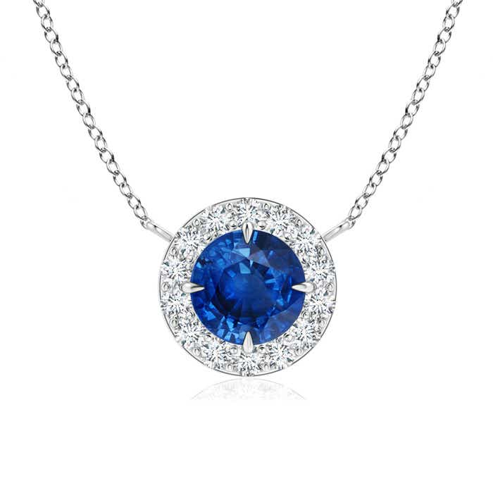 Claw-Set Blue Sapphire and Diamond Halo Necklace - Angara.com