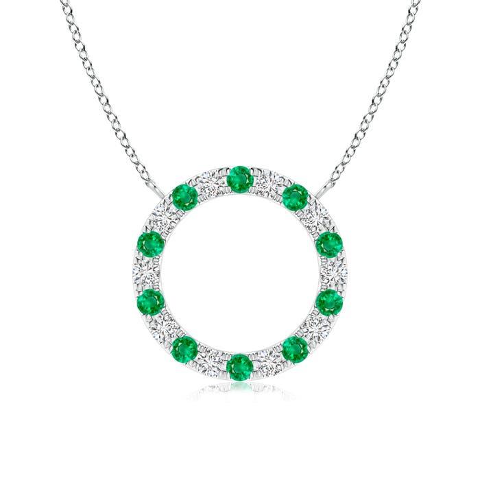 Eternity Round Emerald and Diamond Open Circle Pendant - Angara.com