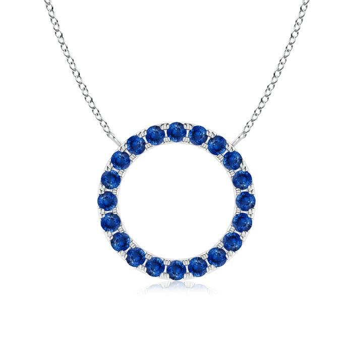 Eternity Round Blue Sapphire Open Circle Pendant