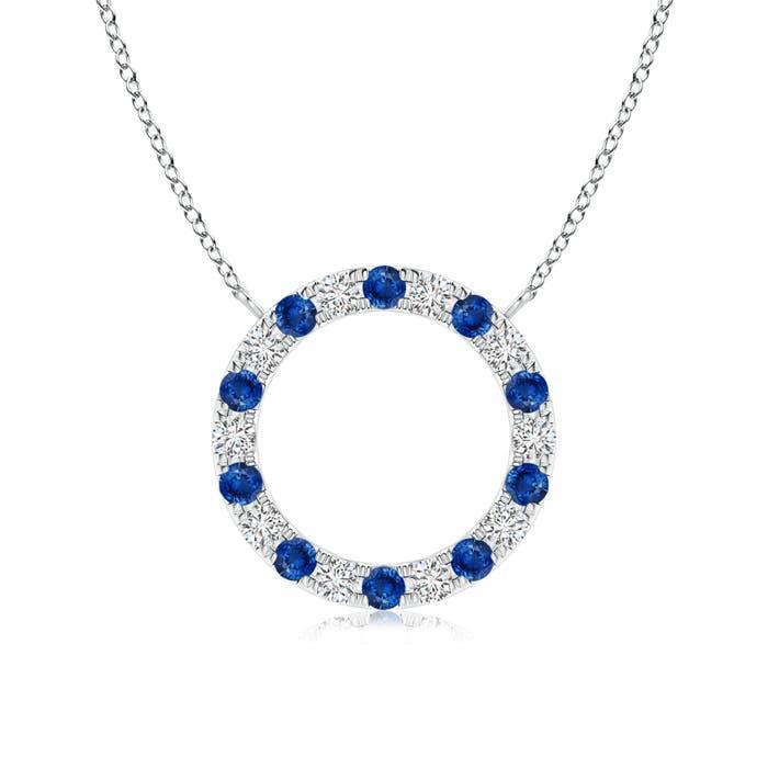 Eternity Sapphire and Diamond Open Circle Pendant - Angara.com
