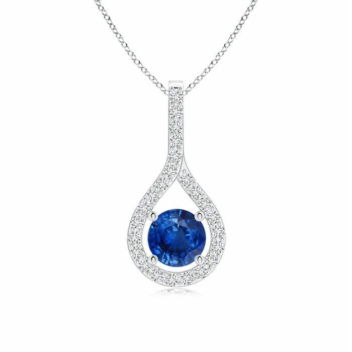 Prong-Set Floating Blue Sapphire Drop Pendant with Diamond Accents - Angara.com