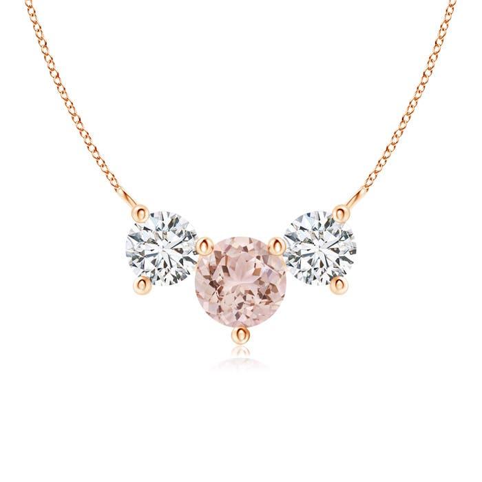Classic Trio Morganite and Diamond Necklace Past Present Future - Angara.com