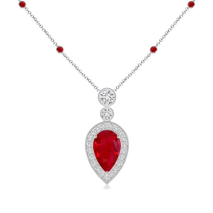 Pear Shaped Ruby Necklace Pendant with Diamond Halo - Angara.com
