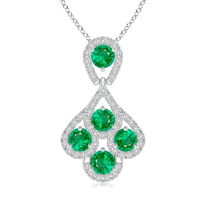Angara Emerald Layered Drop Pendant with Diamonds jQ01Ae