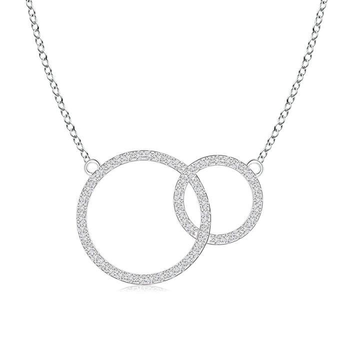 Diamond Encrusted Two Interlocking Circles Necklace - Angara.com