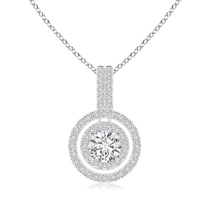 Double Halo Diamond Circle Pendant Necklace - Angara.com