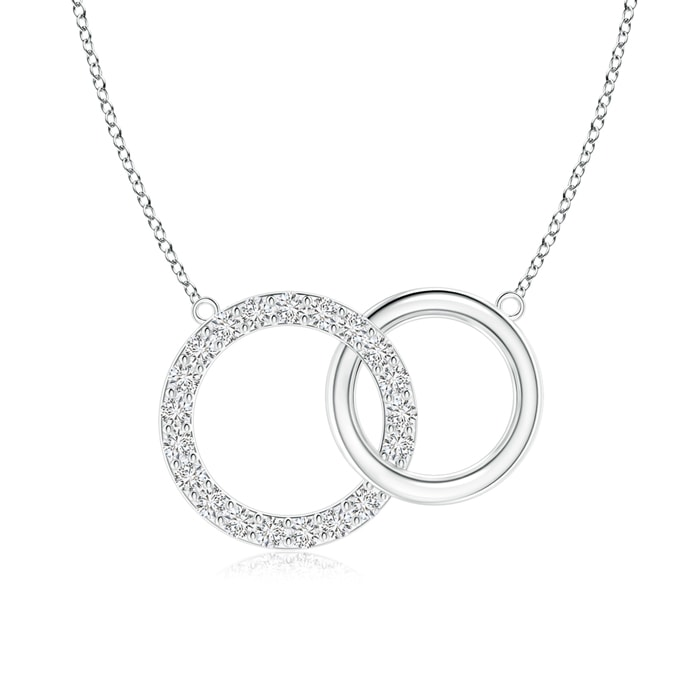 Angara Eternity Round Diamond Circle Infinity Necklace in Two Tone utkGc