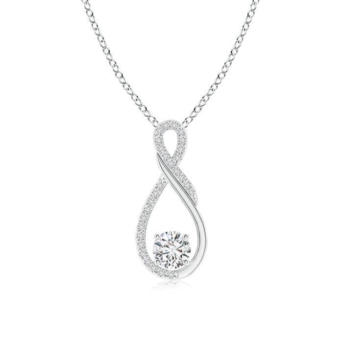 solitaire diamond infinity pendant