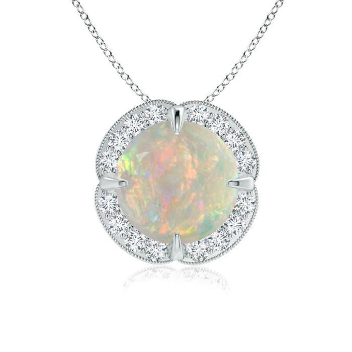 Claw Set Opal Clover Necklace Pendant with Diamond Halo - Angara.com