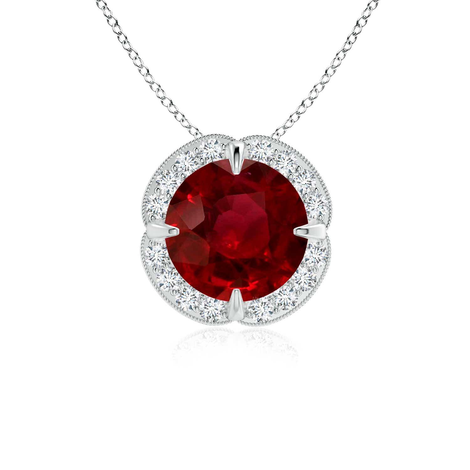 Ruby Clover Halo Necklace (GIA Certified Ruby) - Angara.com