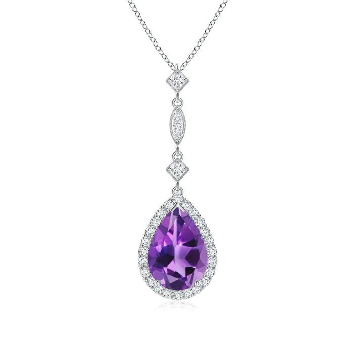 Pear Shaped Amethyst Teardrop Pendant with Diamond Accents - Angara.com