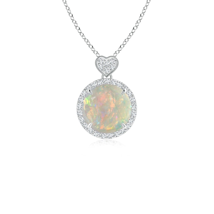 Round Opal Halo Pendant with Diamond Heart Motifs - Angara.com