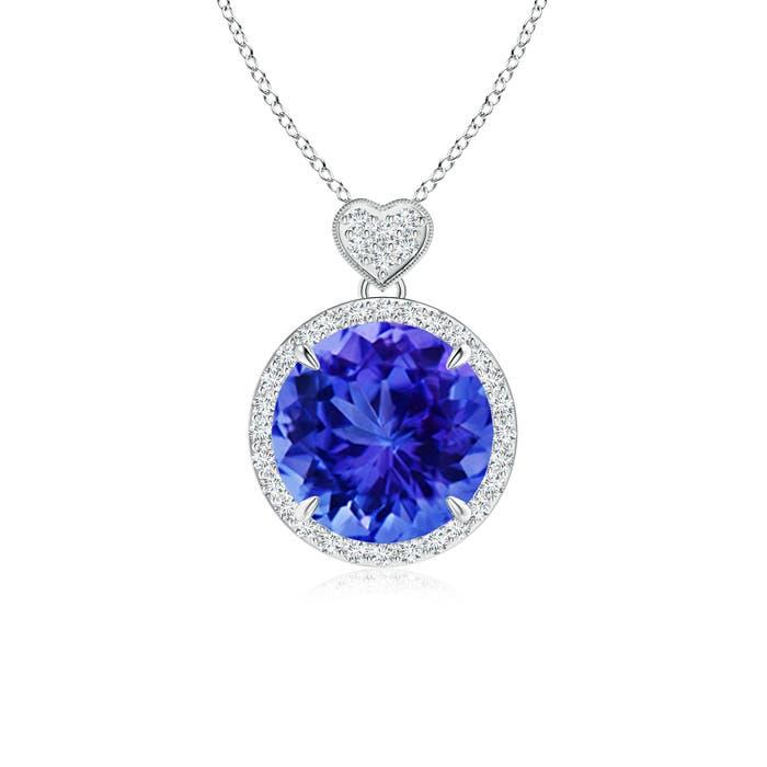 Round Tanzanite Halo Pendant with Diamond Heart Motifs - Angara.com