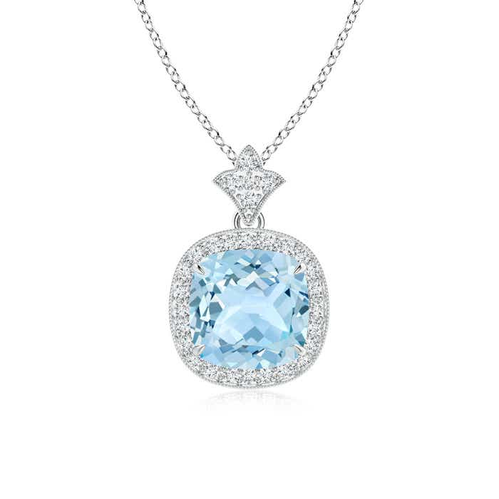 Claw Set Aquamarine Diamond Pendant with Milgrain Detailing - Angara.com